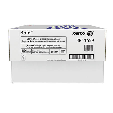 "Xerox® Bold Digital™ Coated Gloss Printing Paper, 17"" x 11"", 94 Brightness, 80 Lb Cover (210 gsm), FSC® Certified, 250 Sheets Per Ream, Case Of 4 Reams"