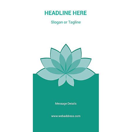 Custom Vertical Banner, Teal Spa Flower