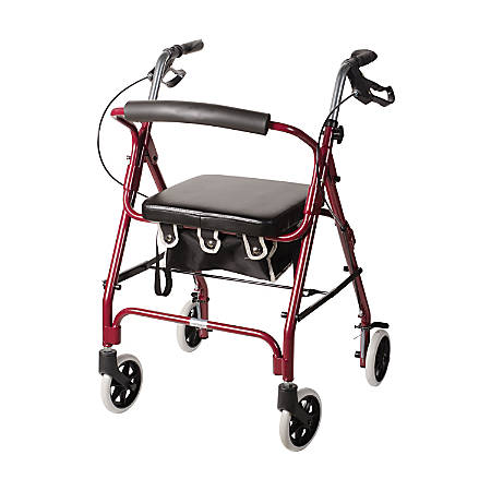 "DMI® Adjustable Aluminum Rollator With Seat, 32 1/4"" x 24 1/2"", Burgundy"