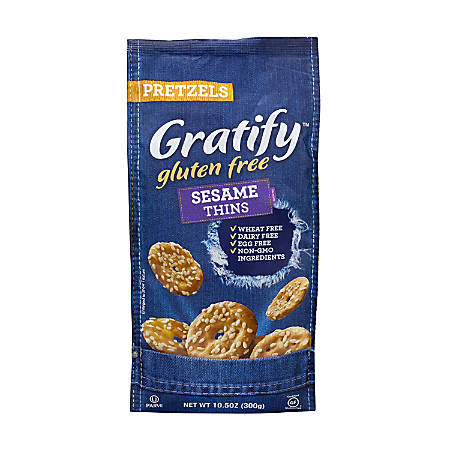 Gratify Gluten-Free Sesame Pretzel Thins, 10.5 Oz, Pack Of 6 Bags