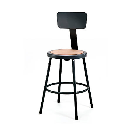 "National Public Seating Hardboard Stool With Back, 24""H, Black"