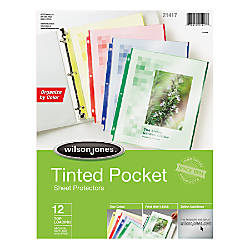Wilson Jones Tinted Pocket Sheet Protectors