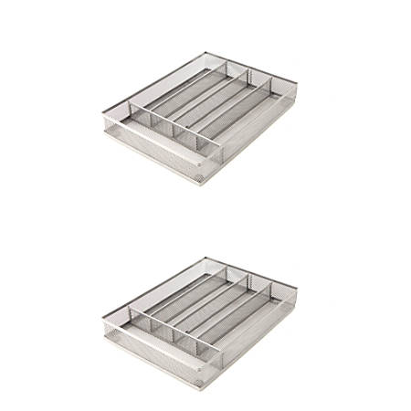 """Mind Reader 5-Section Cutlery Trays, 1 3/4""""H x 8 7/8""""W x 12 1/4""""D, Silver, Pack Of 2"""