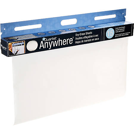 "Quartet® Anywhere™ Dry-Erase Sheets - 480"" (40 ft) Length - Paper - White - Wall Mount - 15 / Each"