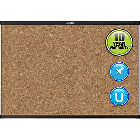 "Quartet® Prestige® 2 Magnetic Cork Bulletin Board, 3' x 2', Black Finish Aluminum Frame - 24"" Height x 36"" Width - Brown Cork Surface - Black Aluminum Frame - 1 / Each"