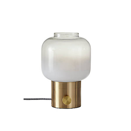 """Adesso® Lewis Table Lamp, 12""""H, White Shade/Antique-Brass Base"""
