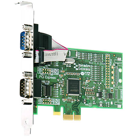 Brainboxes PX-257 2-Port PCI Express Serial Adapter - 2 x 9-pin DB-9 Male RS-232 Serial
