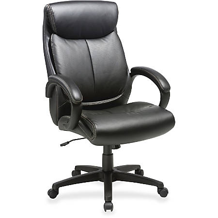 Lorell® High-Back Bonded Leather Executive Chair, Black