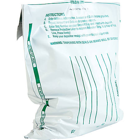 """Quality Park Night Deposit Bags, 8 1/2"""" x 10 1/2"""", White, Pack Of 100"""