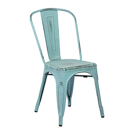 Office Star™ Bristow Armless Chairs, Antique Sky Blue, Set Of 4 Chairs