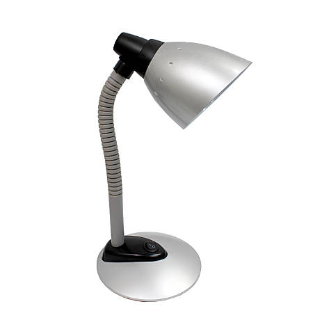 """Simple Designs High-Power LED Desk Lamp, 16 3/8""""H, Silver Shade/Silver Base"""