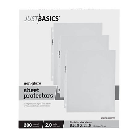 Just Basics Top-Loading Sheet Protectors, Lightweight, Semi-Clear, Box Of 200