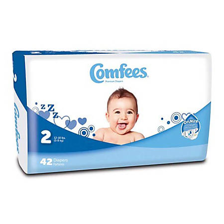 Attends® Comfees® Baby Diapers, Size 2, White, Pack Of 42