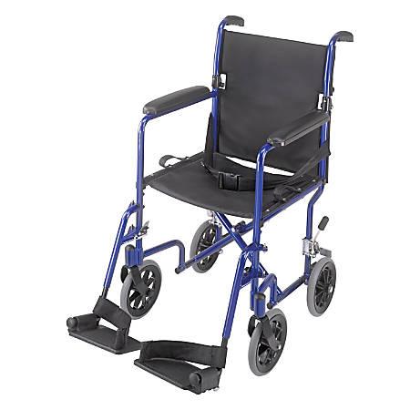 "DMI® Ultra Lightweight Folding Transport Chair, 37""H x 21 1/2""W x 19""D, Royal Blue"