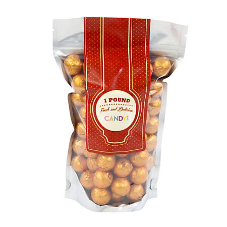 Sweetworks Foil-Wrapped Solid Milk Chocolate Balls, 1 Lb, Orange