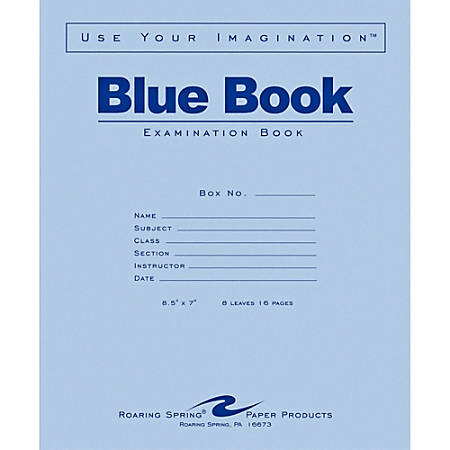 "Roaring Spring Blue Book 8-sheet Exam Booklet - 8 Sheets - Stapled - Ruled - 15 lb Basis Weight - 7"" x 8 1/2"" - White Paper - Blue Cover - Dual Sided - 1Each"