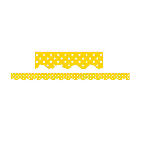 "Teacher Created Resources Border Trim, 2 3/16"" x 35"", Yellow Mini Polka Dots, Pre-K - College, Pack Of 12"