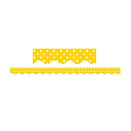 "Teacher Created Resources Border Trim, 2 3/16"" x 35"", Yellow Mini Polka Dots, Pre-K - College, Pack Of 12"
