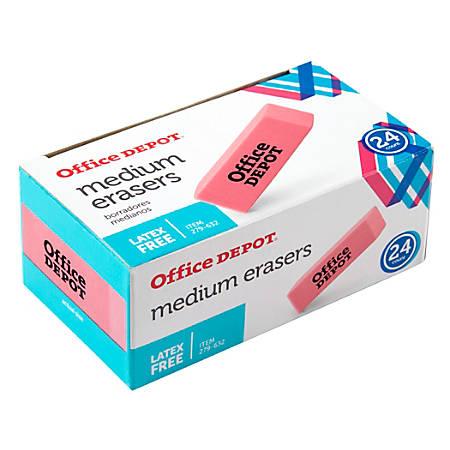Office Depot® Brand Pink Bevel Erasers, Medium, Box Of 24