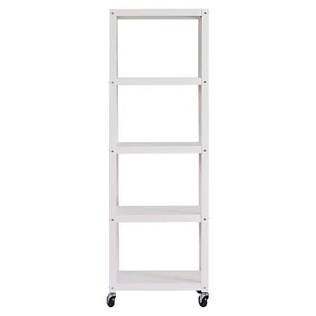 Lorell® Steel Mobile Series Bookcase, 4-Shelf, 6'H, White
