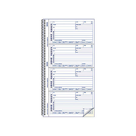 """Rediform Memo Style Phone Message Book - 400 Sheet(s) - Spiral Bound - 2 Part - Carbonless Copy - 5 3/4"""" x 11"""" Sheet Size - Blue Print Color - 1 Each"""