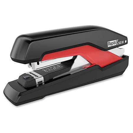 "Rapid Supreme Omnipress SO30 Stapler - 30 Sheets Capacity - Omnipress (press less) - SuperFlatClinch - Fullstrip - 1/4"" Staple Size - Black, Red"
