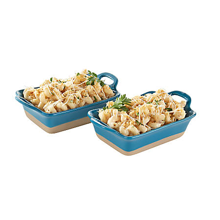 Rachael Ray® Stoneware Au Gratin Dishes, 12 Oz, Natural/Teal, Set Of 2 Dishes