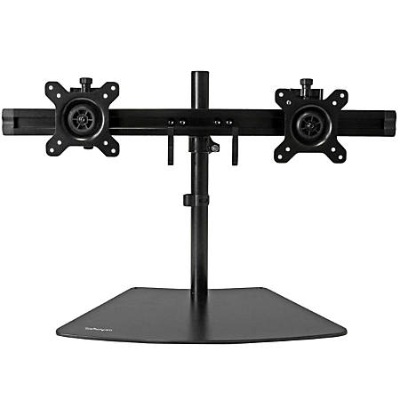 "StarTech.com Dual Monitor Stand - Crossbar - Supports Monitors up to 24"" - Vesa Mount - Adjustable Computer Monitor Arm - Up to 24"" Screen Support - 35.27 lb Load Capacity - 16.1"" Height x 37.4"" Width - Tabletop, Desktop - Aluminum, Steel, Plastic - Black"