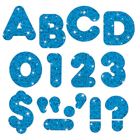 "TREND Ready Letters®, Casual, 3"", Blue Sparkle, Pre-K - Grade 12, Pack Of 124"