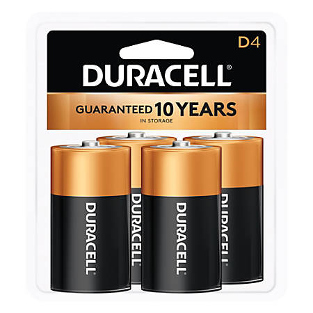Duracell Coppertop Alkaline D Batteries, Pack Of 4