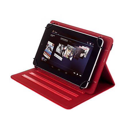 "Kyasi Seattle Classic Universal Folio Case For 7 - 8"" Tablets, Rad Red, KYSCUN78C7"