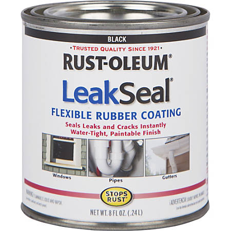 LeakSeal Brush Flexible Rubberized Coating, 8 Oz, Black