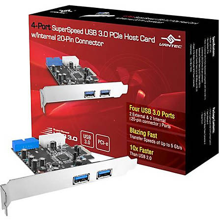 Vantec 4-Port SuperSpeed USB 3.0 PCIe Host Card w/ Internal 20-Pin Connector - PCI Express - Plug-in Card - 4 USB Port(s) - 1 SATA Port(s) - 5 eSATA/USB Combo Port(s) - 4 USB 3.0 Port(s)