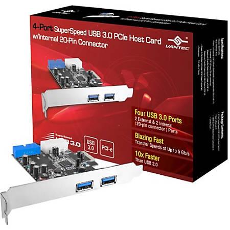 Vantec 4-Port SuperSpeed USB 3.0 PCIe Host Card w/ Internal 20-Pin Connector