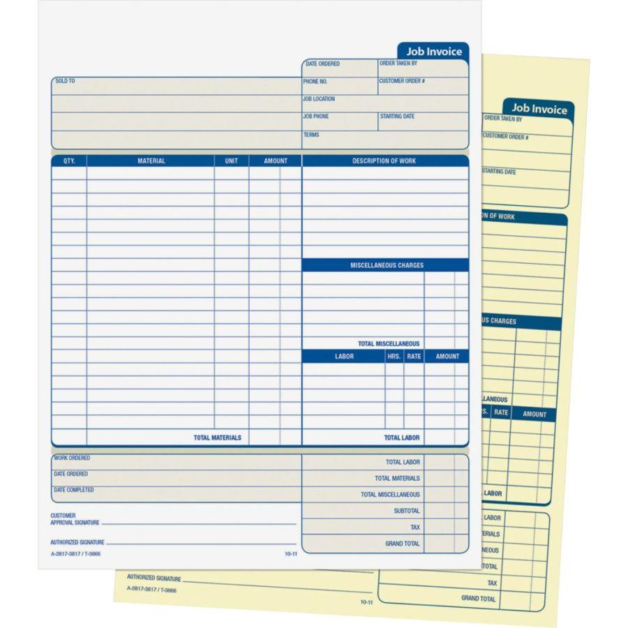 Adams Carbonless Contractor S Invoices 2 Part 100 Sets Zerbee