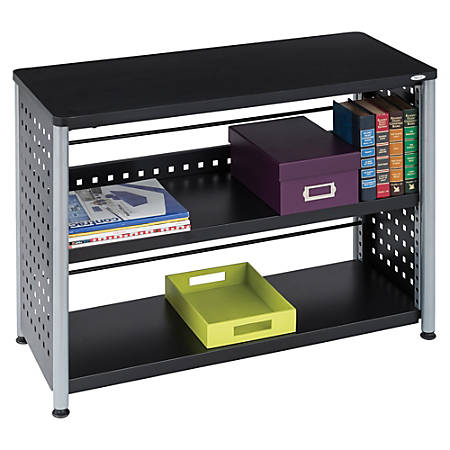 "Safco Scoot Contemporary Design Bookcase - 36"" x 15.5"" x 27"" - 2 Shelve(s) - Material: Steel, Particleboard - Finish: Black, Laminate, Powder Coated"