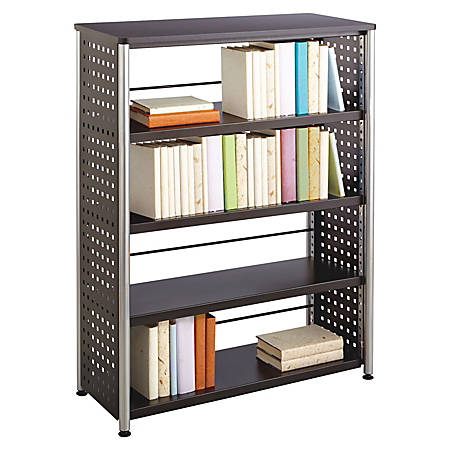 """Safco Scoot Contemporary Design Bookcase - 36"""" x 15.5"""" x 47"""" - 4 Shelve(s) - Material: Steel, Particleboard - Finish: Black, Laminate, Powder Coated"""