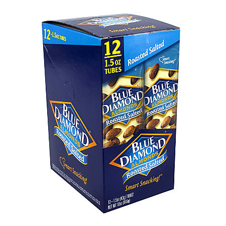 Blue Diamond Roasted Salted Almonds, 1.5 Oz, Box Of 12 Pouches