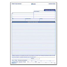 Adams Carbonless Contractors Invoices 3 Part