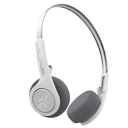 JLab Audio Rewind Retro Wireless On-Ear Headphones, White, HBREWINDRWHT4
