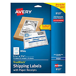 4edcd7d7a31b7 Avery® TrueBlock® Permanent Inkjet Shipping Labels, With Paper Receipts,  8127, 5 1/16