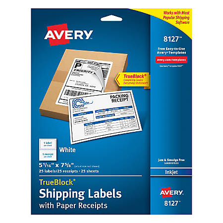 """Avery® TrueBlock® Permanent Inkjet Shipping Labels, With Paper Receipts, 8127, 5 1/16"""" x 7 5/8"""", White, Pack Of 25"""
