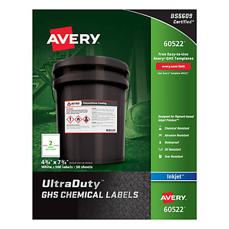 """Avery® UltraDuty GHS Chemical Labels For Pigment-Based Inkjet Printers, 60522, 4 3/4"""" x 7 3/4"""", White, Pack Of 100"""
