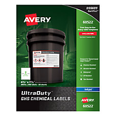 Avery UltraDuty GHS Chemical Labels For