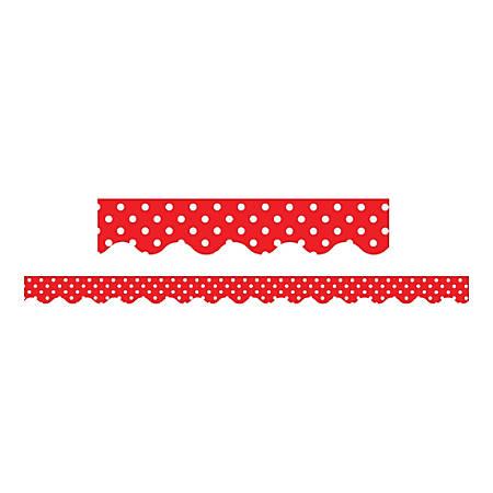 "Teacher Created Resources Border Trim, 2 3/16"" x 35"", Red Mini Polka Dots, Pre-K - College, Pack Of 12"