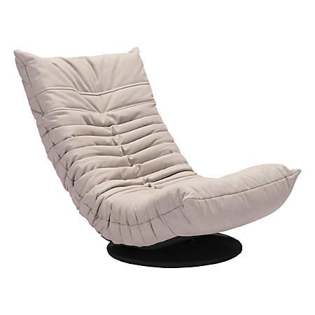 Zuo Modern Down Low Swivel Chair, Beige/Black