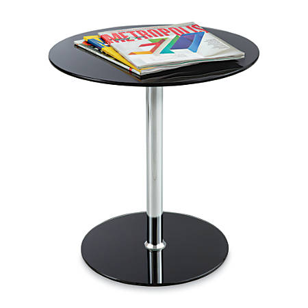 Safco® Glass Accent Table, Round, Black/Chrome