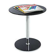 Safco Glass Accent Table Round BlackChrome
