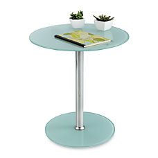 Safco Glass Accent Table Round ChromeWhite