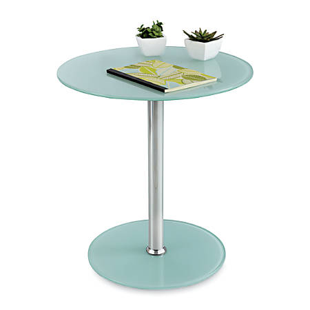 Safco® Glass Accent Table, Round, Chrome/White